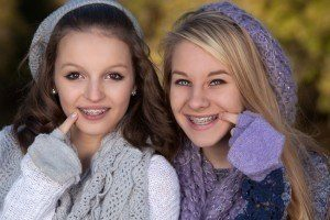 Young girls with fast braces they received at Advanced Dental Group in Bucks County PA.